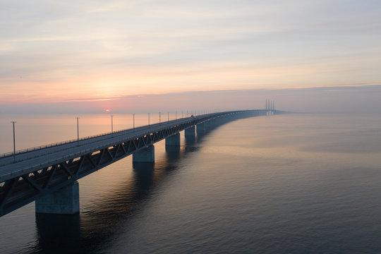 Öresunds bridge at sunset