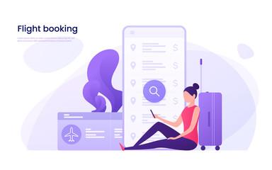 Flight tickets online booking concept. Vector illustration.
