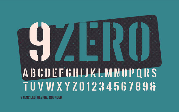 Stenciled bold weight decorative rounded san serif.