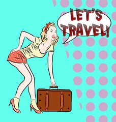 Pinup Girl with suitcase on pop art background.