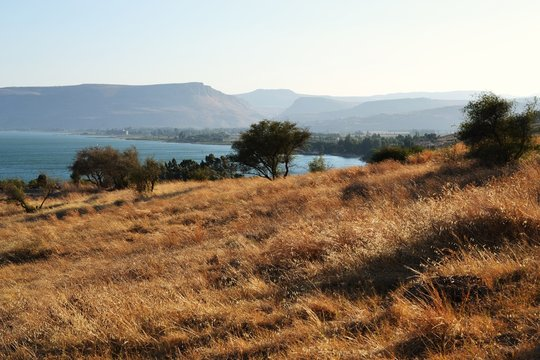 The Sea of Galilee and Church Of The Beatitudes, Israel, Sermon of the Mount of Jesus
