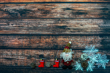 Foto op Aluminium Japan Christmas background with Christmas decorations on the dark wooden