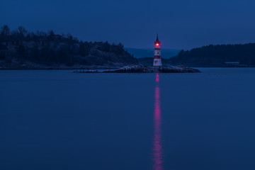 Kavringen lighthouse in the night. Oslo, Norway