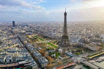 Beautiful Paris Aerial Panoramic Cityscape View feat. Famous Iconic Landmark Eiffel Tower, Champ de Mars Park, Seine River in France