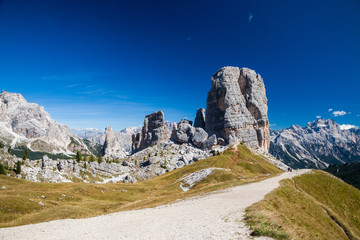 Hiking around the Cinque Torri in the Dolomites of Northern Italy, Europe