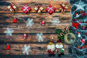 Christmas background with many colorful Christmas gift boxes