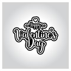 valentines day lettering vector illustration