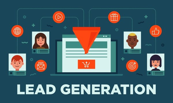 Lead management, lead generation, conversion, online sales optimization flat vector banner illustration with icons