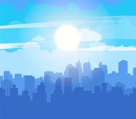 Flat cityscape with blue sky, white clouds and sun. Modern city skyline flat panoramic vector background. Urban city tower skyline illustration.