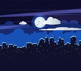 Night cityscape flat vector illustration of dark urban midnight panoramic view. Landscape background of bright moon in clouds with stars and city.