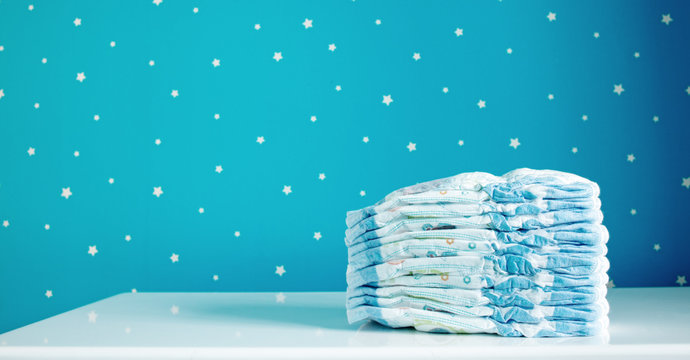 A pack of diapers in baby room