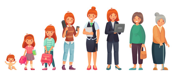 Female different ages. Baby, young girl, adult european women and aged grandma. Woman generations isolated cartoon vector illustration