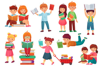 Kids read book. Happy kid reading books, girl and boy learning together and young students isolated cartoon vector illustration