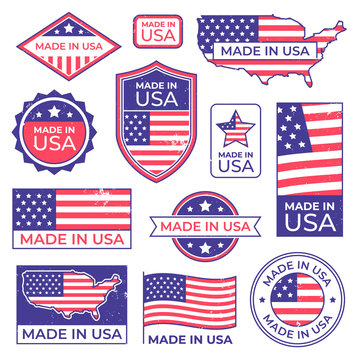 Made in usa logo. American proud patriot tag, manufacturing for usa label stamp and united states of america patriotic flag vector set