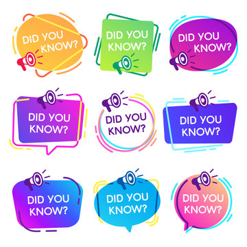 Did you know labels. Interesting facts speech bubbles, knowledge base label and social media faq banner isolated vector badges set