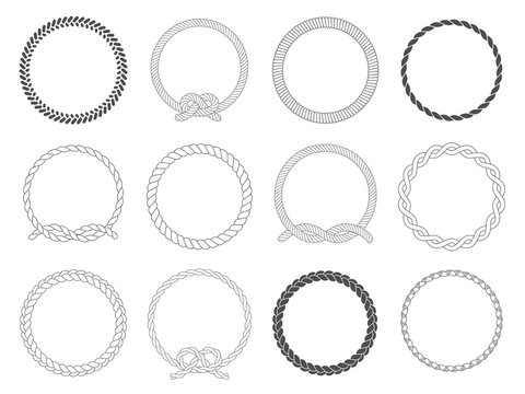 Round rope frame. Circle ropes, rounded border and decorative marine cable frame circles isolated vector set