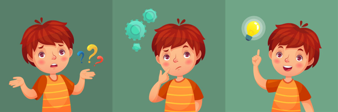 Child question. Thoughtful young boy ask question, confused kid and understand or found answer cartoon vector portrait illustration