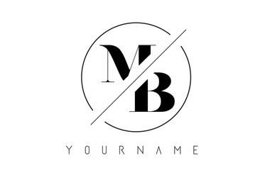 MB Letter Logo with Cutted and Intersected Design