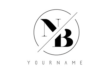 NB Letter Logo with Cutted and Intersected Design