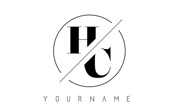 HC Letter Logo with Cutted and Intersected Design