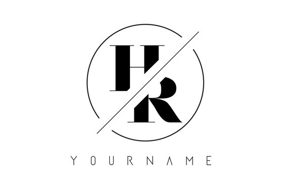 HR Letter Logo with Cutted and Intersected Design
