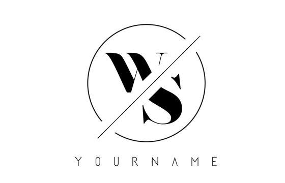 WS Letter Logo with Cutted and Intersected Design