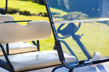 Golf cart over nice green and blue sky