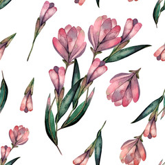 Seamless pattern watercolor magnolia