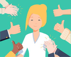 Happy woman portrait with thumbs up and human hands clapping isolated on background. Thumbs up flat hands for network