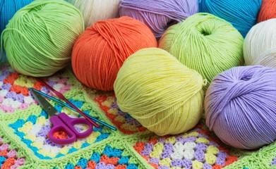 Balls of colored yarn.