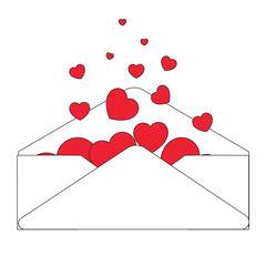 Valentine-White Envelope with Red Hearts Flowing Out