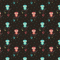 Cute owls, hearts seamless pattern on dark background for Valentine's Day - Vector