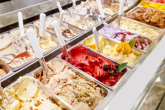 various flavors of gelato ice-cream at the showcase in dessert shop