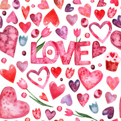 Valentines day watercolor seamless pattern