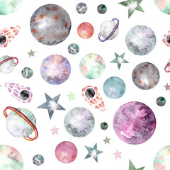 seamless pattern with hand drawn space