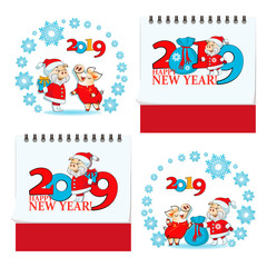 Funny pigs on the eve of the New Year 2019. Chinese characters 2019. YEAR YELLOW PIGS. Set for calendar, greeting cards, holiday gifts with greeting.