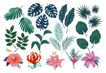 Cute tropical stickers and labels. Summer set of leaves and flowers. Vector illustration