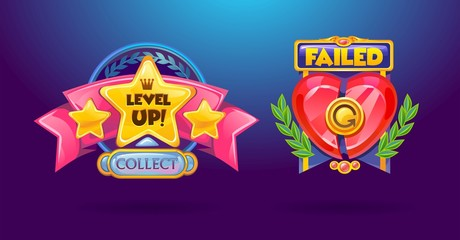 """Game elements set. """"Level Up"""", """"failed"""" cartoon colorful buttons. Vector illustration"""