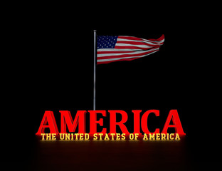 American Flag - United States, 3D Typography Design Study - 3D
