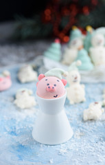 Tasty and beautiful marshmallows in the form of: Christmas trees, muzzles of pigs, snowmen,