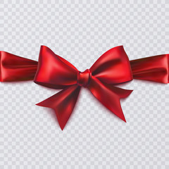Realistic red bow on transparent background, vector illustration