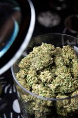 Glass jar filled with marijuana