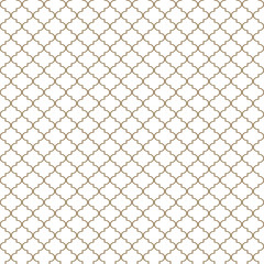Quatrefoil Seamless Pattern - Minimalist tan and white quatrefoil or trellis design