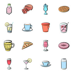 American food and Drinks set. Background for printing, design, web. Usable as icons. Seamless. Colored.