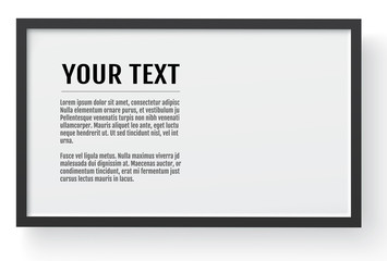 Black modern frame, horizontal mockup.  Place for text, photo, gift or others. Vector illustration