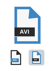 avi file vector icon. Symbol of AVI audio video interleave format for multimedia – audio and video data. Symbol is isolated on a white background.