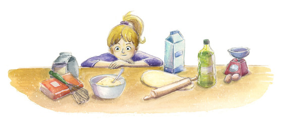 Niño en la cocina mirando los ingredientes