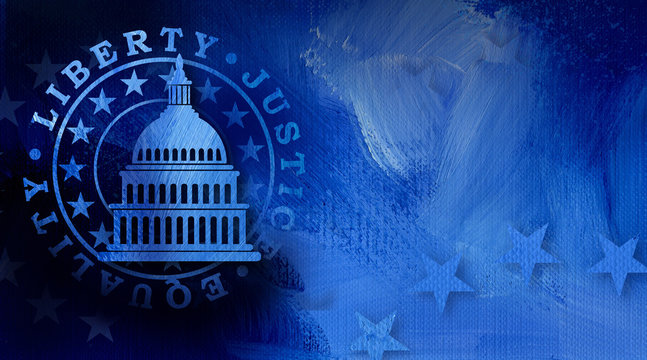 Government Capitol building with Liberty Equality and Justice Seal graphic abstract background