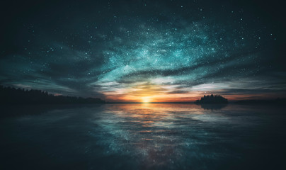 Stars reflected in the water of the archipelago during sunset
