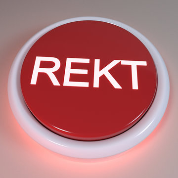 """Red button """"REKT"""" displayed on button, negative action concept, cryptocurrency exchange trading concept, failure example, financial liquidation, bad decision, blockchain, 3D Rendering Illustration"""